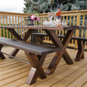 DIY X Leg Patio Table with Pipe Trestle
