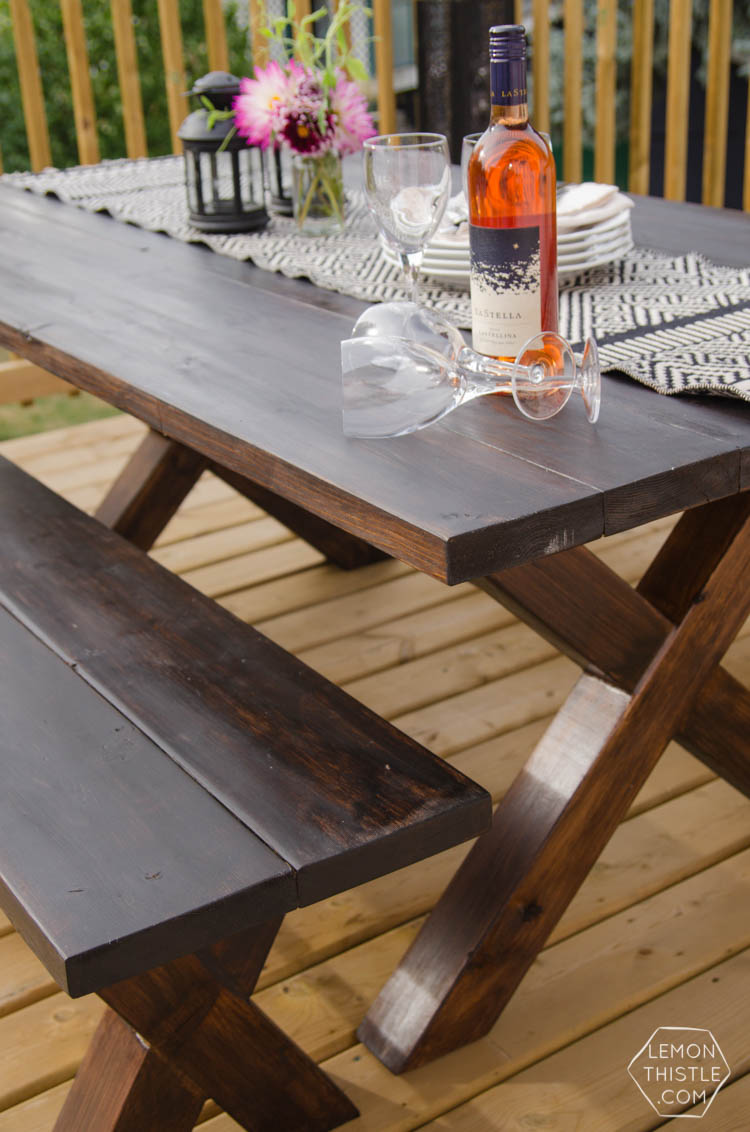 Diy X Leg Patio Table With Pipe Trestle Lemon Thistle