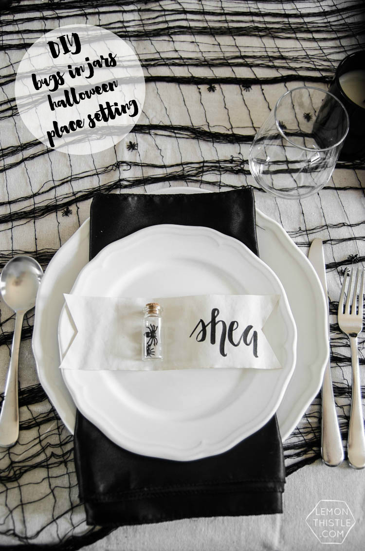 DIY Bugs in Jars for a simple spooky Halloween place setting