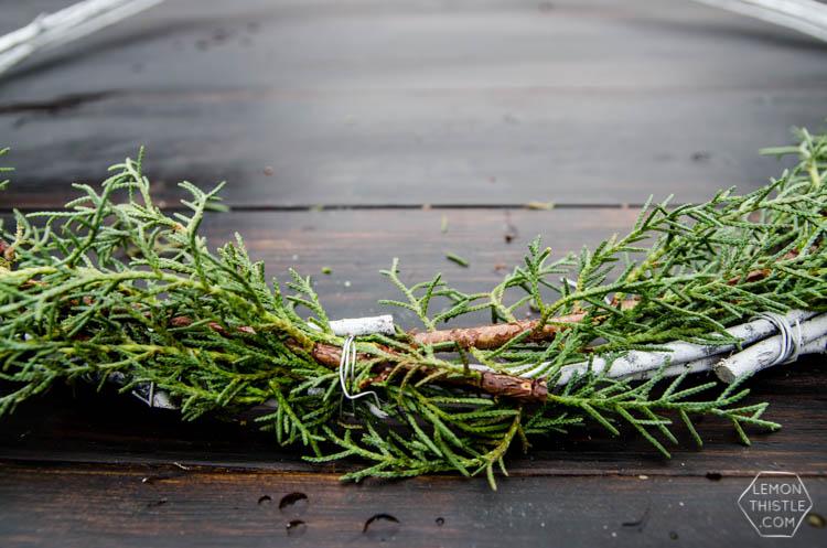 DIY Minimal Holiday Wreath with fresh greens