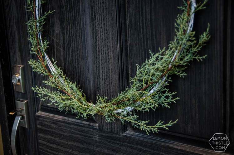 DIY Minimal Holiday Wreath with fresh greens
