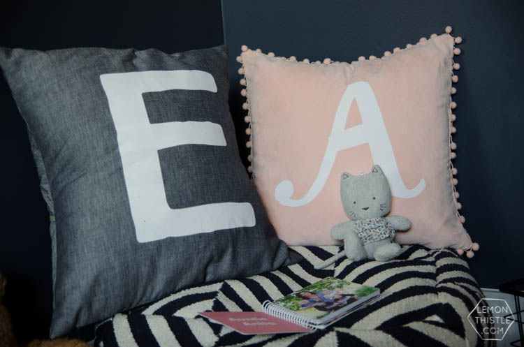 DIY Monogram Lettered Pillows with Stripflock (the fuzzy stuff!)