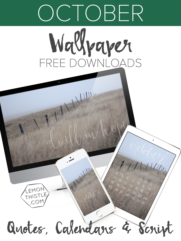 October Free Downloadable Tech Wallpapers for Desktop, Tablet and Phone in Quote, Script and Calendars!