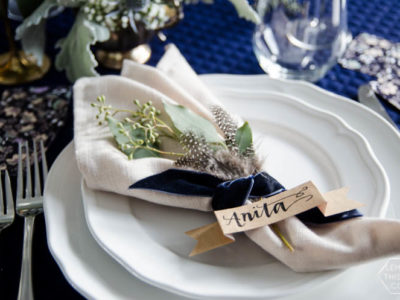 Navy and Neutrals Dinner Party Decor- I love the place settings!