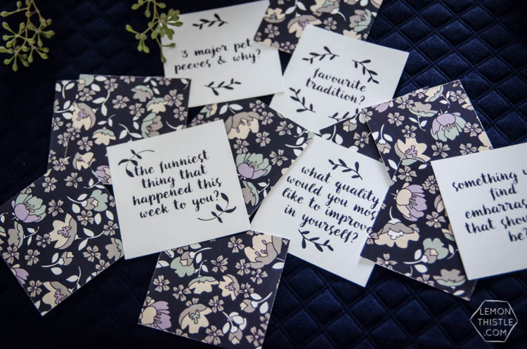 Free Printable Table Topics- Pretty conversation starters for a dinner party