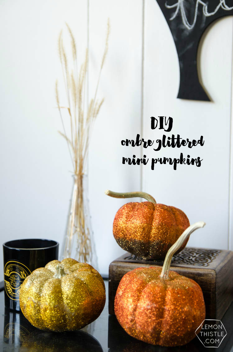 DIY Ombre Glitter Mini Pumpkins