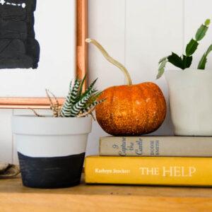 DIY Ombre Glitter Mini Pumpkins