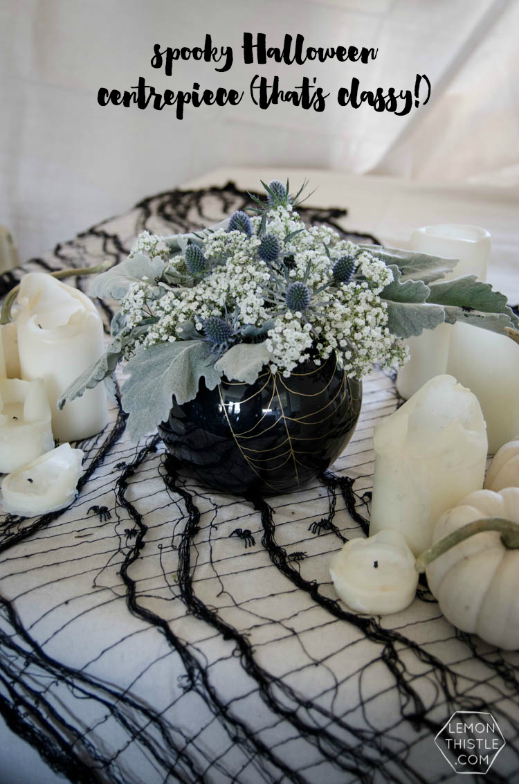 DIY Spooky Floral Halloween Centrpiece that's actually classy! Black and White Halloween Party