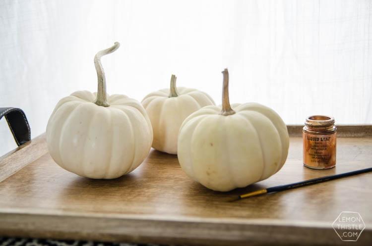 DIY Mini Gold Leaf Jack-O-Lantern Pumpkins for Halloween!