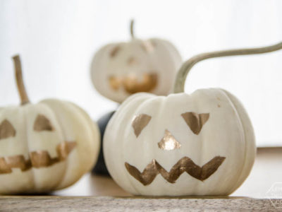 DIY Mini Gold Leaf Jack-O-Lantern Pumpkins for Halloween!