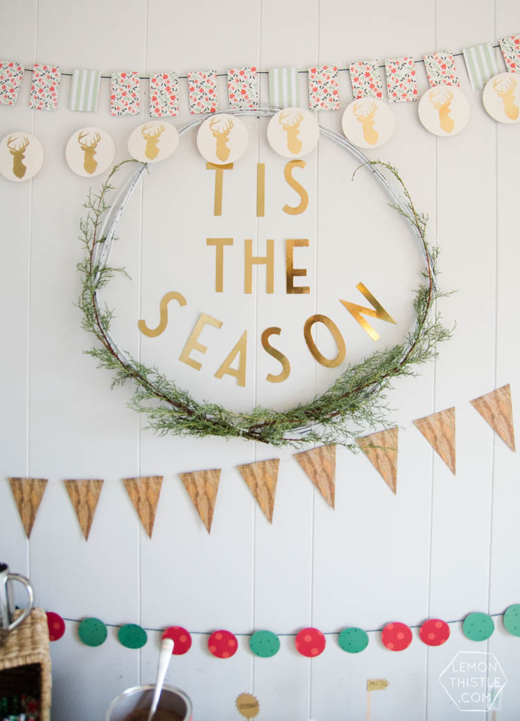 Holiday Party Table Styling Tips- a Christmas crafting and hot cocoa party!
