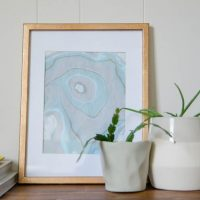DIY marbled art and gilded photo frame