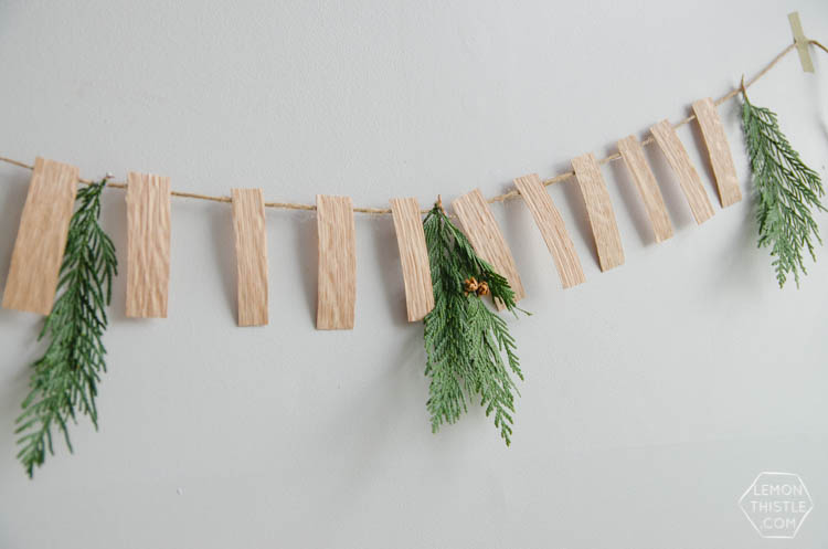 DIY Simple Wood Veneer Garland with Fresh Greens- the perfect minimal holiday decoration