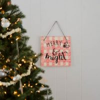 DIY Buffalo Check Plywood Holiday Sign
