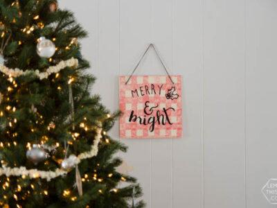DIY Buffalo Check Plywood Holiday Sign