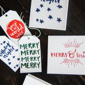 Hand Lettered Watercolor Holiday Cards and Tags- Printable