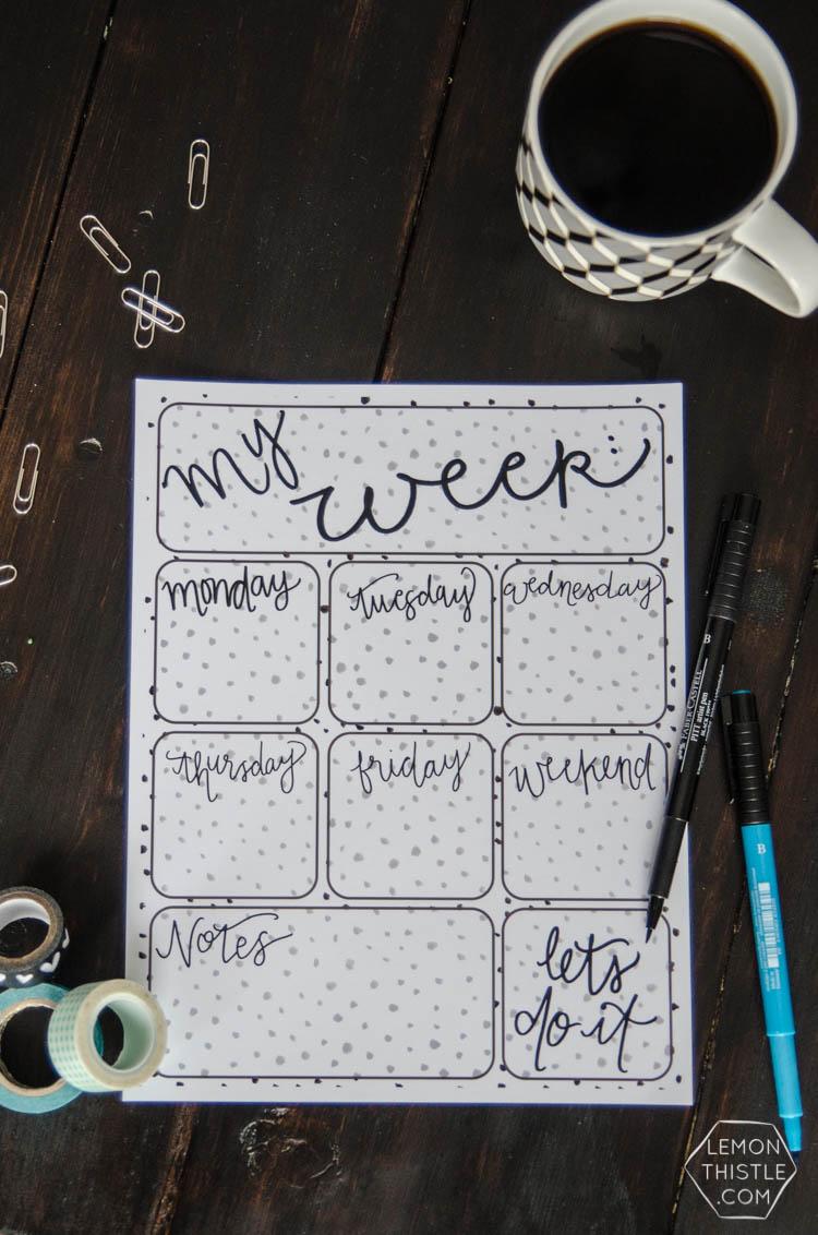 Free Printable 'My Week' Planner