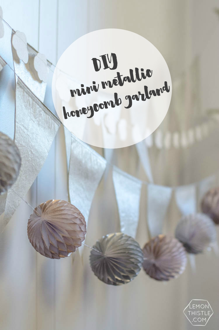 DIY Metallic Mini Honeycomb Garland- so fun for a party or just home decor!