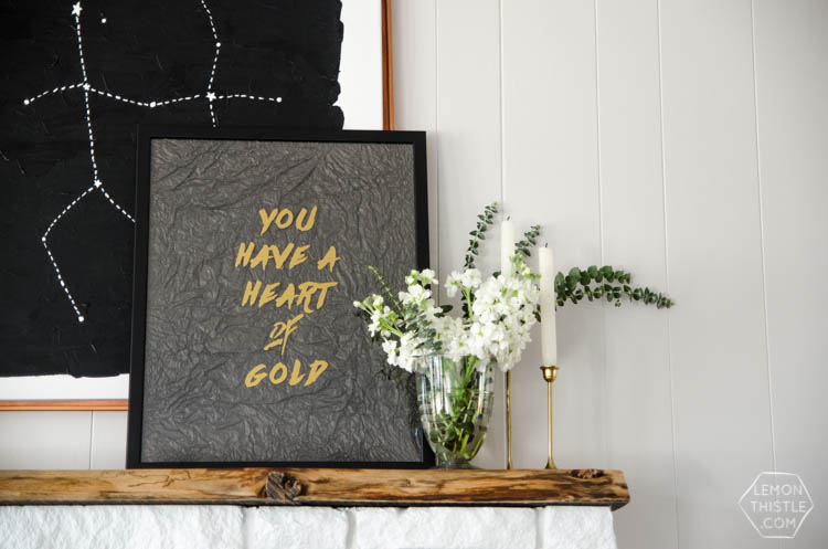 You have a heart of gold- DIY textured wall art