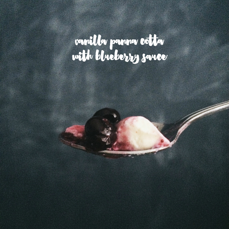 Vanilla Panna Cotta with Blueberry Sauce