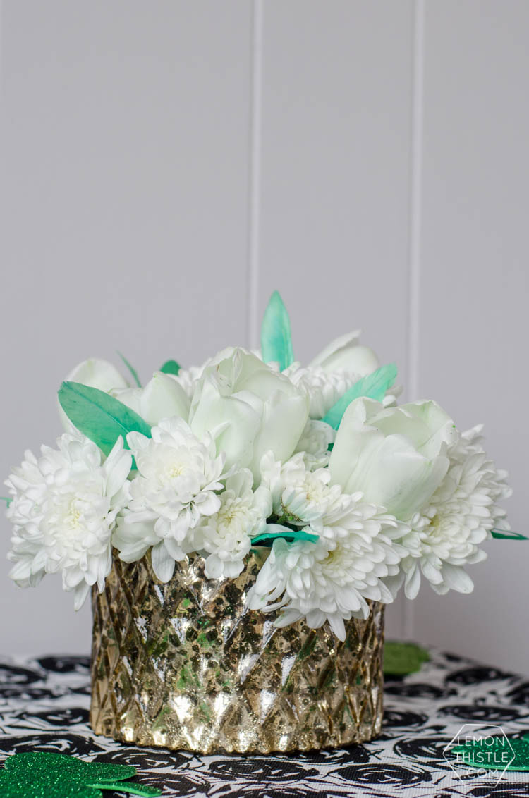 DIY Saint Patrick's Day Floral Centrepiece- using grocery store flowers!
