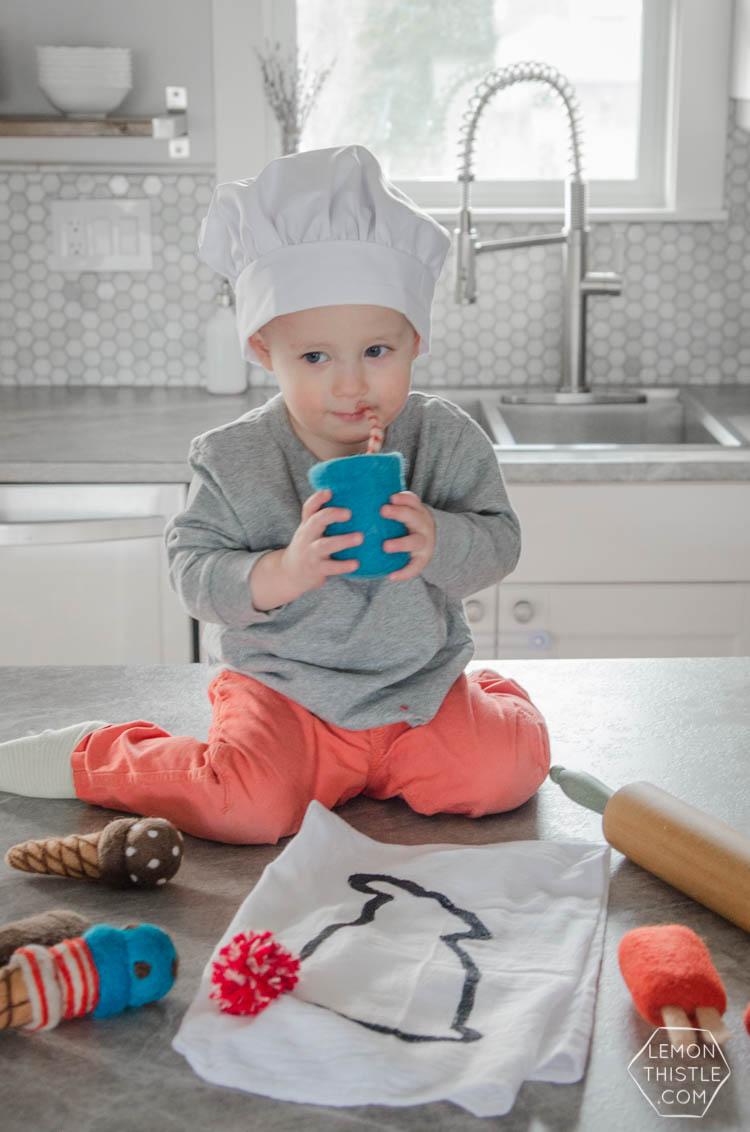 DIY Bunny Tail Tea Towel... isn't this adorable?! I love the pom pom