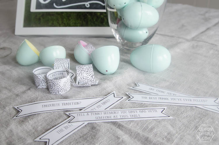 Free Printable Easter Egg Conversation Starters- so fun! Just like Christmas crackers... but for Easter