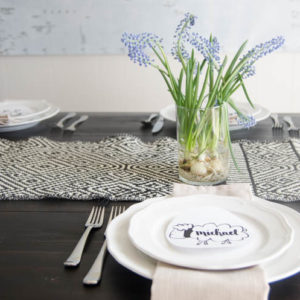 A Last Minute (seriously!) Tablescape- perfect for Easter. Complete with cheater forced flowers and free printable placecards!