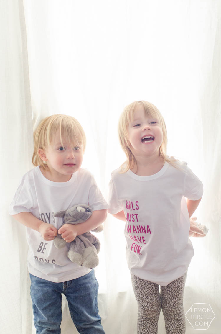 Such fun t-shirts for siblings! And I love that it uses the fuzzy iron on letters- so much better for kids.