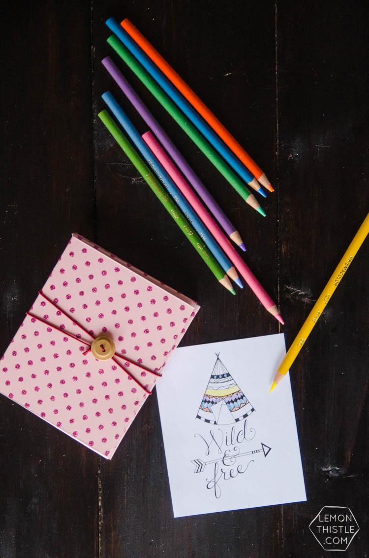 DIY Mini Colouring Sheet Kit- so fun to take along in your purse or on trips!