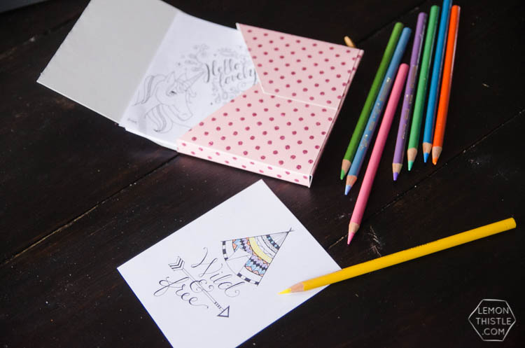 DIY Mini Colouring Sheet Kit- so fun to take along in your purse or on trips!
