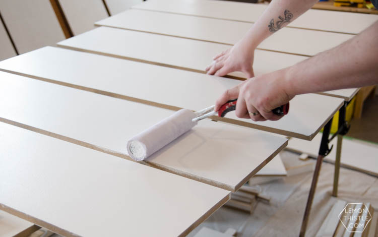 Painting MDF sheets for built in shelving without using a tablesaw- click through for the full DIY instructions