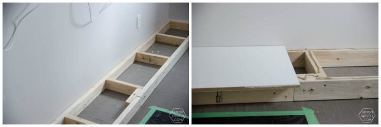 A simple 2x4 base to build a built in wall shelving unit on. Click through for the full DIY tutorial