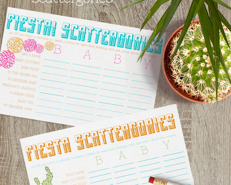 fiesta scatterfories for a baby shower- how fun is this!?