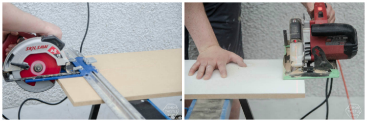 Cutting MDF sheets for built in shelving without using a tablesaw- click through for the full DIY instructions