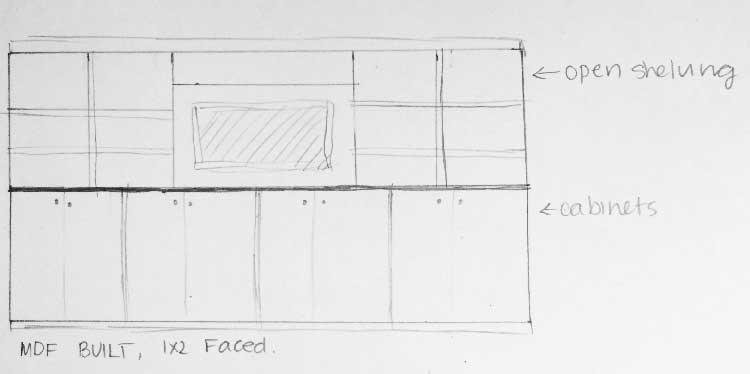 DIY custom built in shelving unit- click through for full DIY tutorial