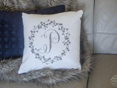 DIY Wreath Monogrammed Flocked Throw Pillow