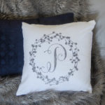 DIY Wreath Monogrammed Flocked Throw Pillow
