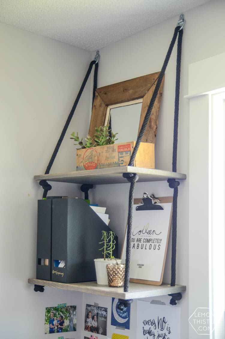 DIY Hanging Shelves (and Farewell Office) - Lemon Thistle