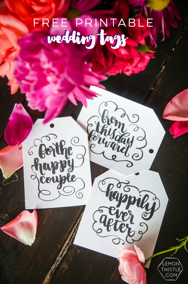 Free printable wedding tags- I love the black and white brush lettering! So pretty