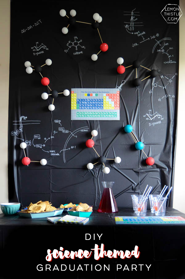 DIY a fun science themed grad party- this is SO much fun! I love that backdrop