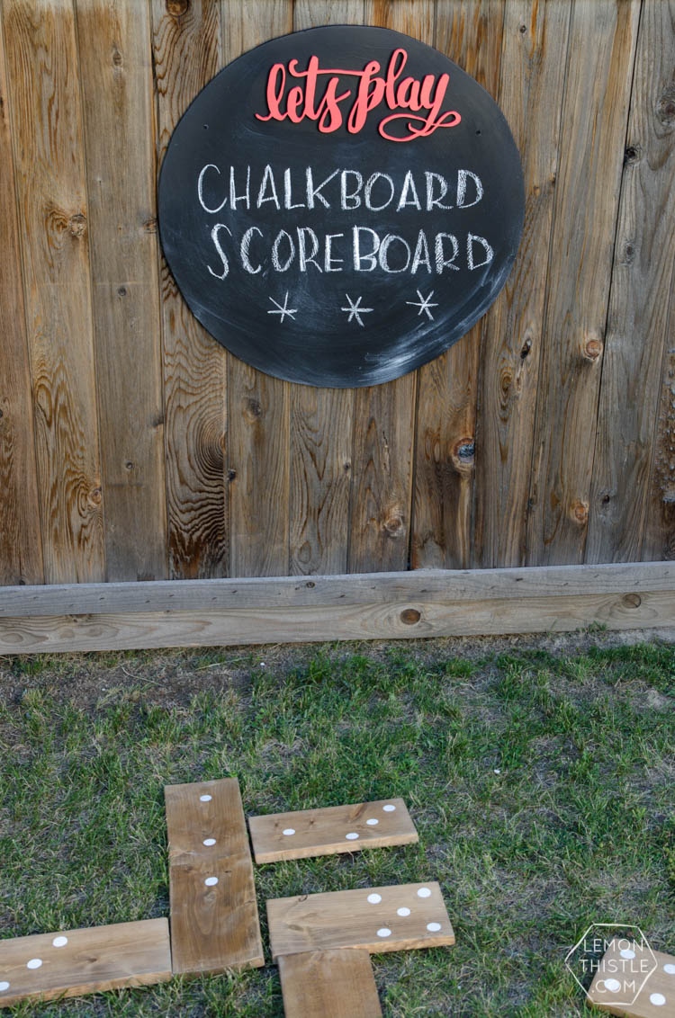 DIY Round Chalkboard with 3d hand lettering... I LOVE this! Perfect for backyard games