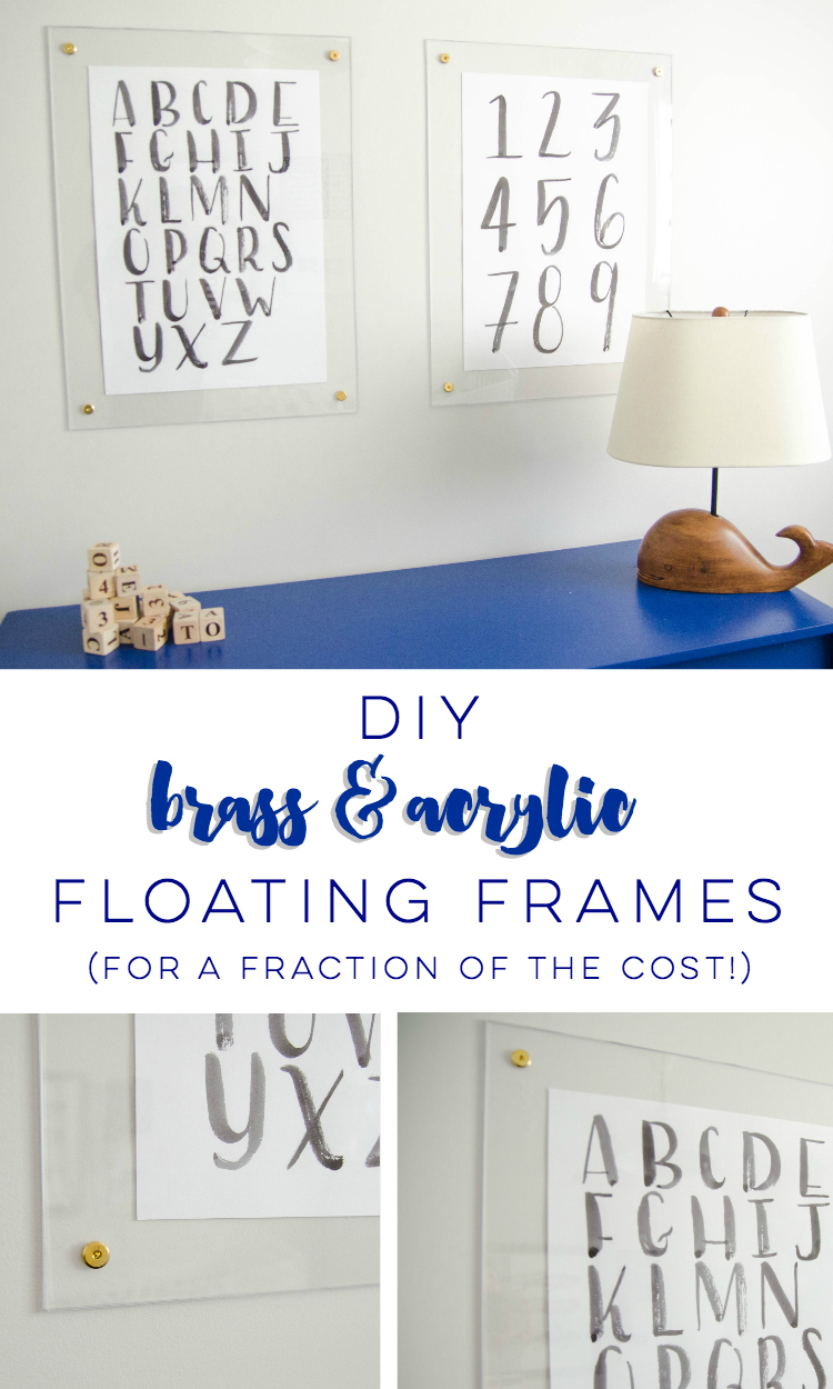 DIY brass and acrylic floating frames- for a fraction of the cost! So modern, I love it!