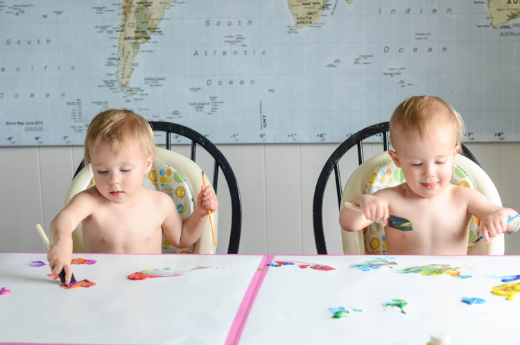DIY Kids Geometric Art from Finger Painting- this is such a fun way to involve kids artwork in home decor!
