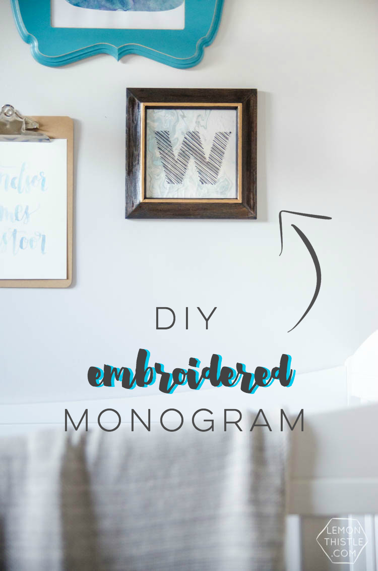 DIY Faux Stitched Monogram- I love this! And it's perfect since I can't actually do embroidery!