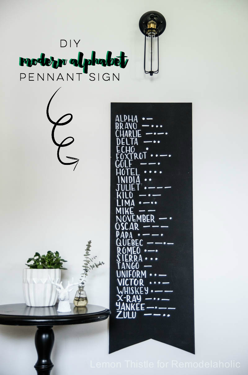 DIY phonetic alphabet and morse code sign- SO fun! I love the scale too.