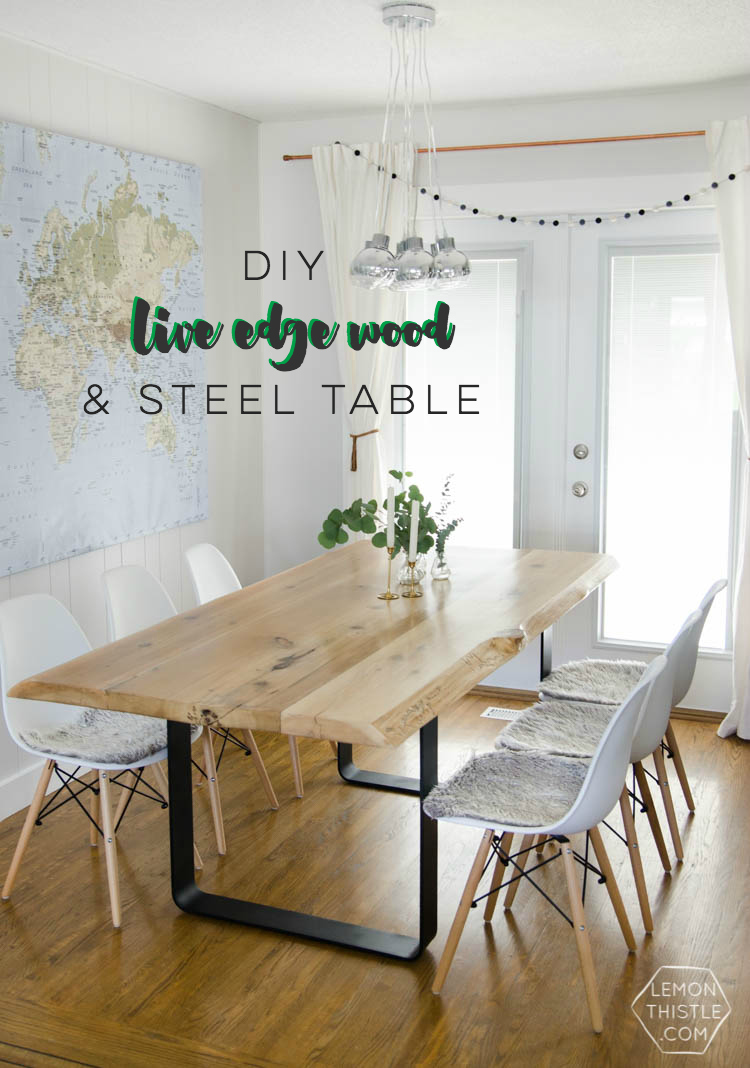 90ed62039154a DIY Live Edge Wood Dining Room Table with Steel Legs... uhhhhm love this