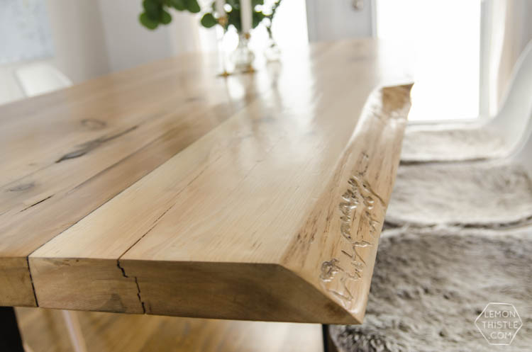 Diy live edge table with steel base lemon thistle diy live edge wood dining room table with steel legs uhhhhm love this watchthetrailerfo