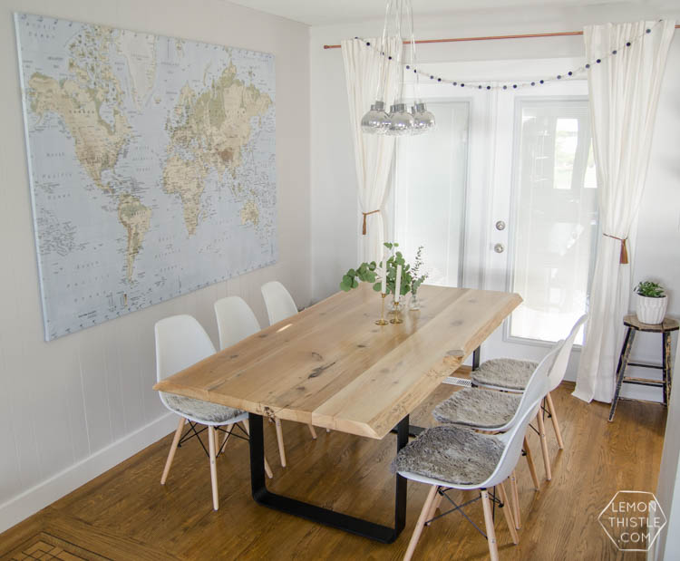 A Dining Room Update with DIY live edge table- I can't believe this is the same room!
