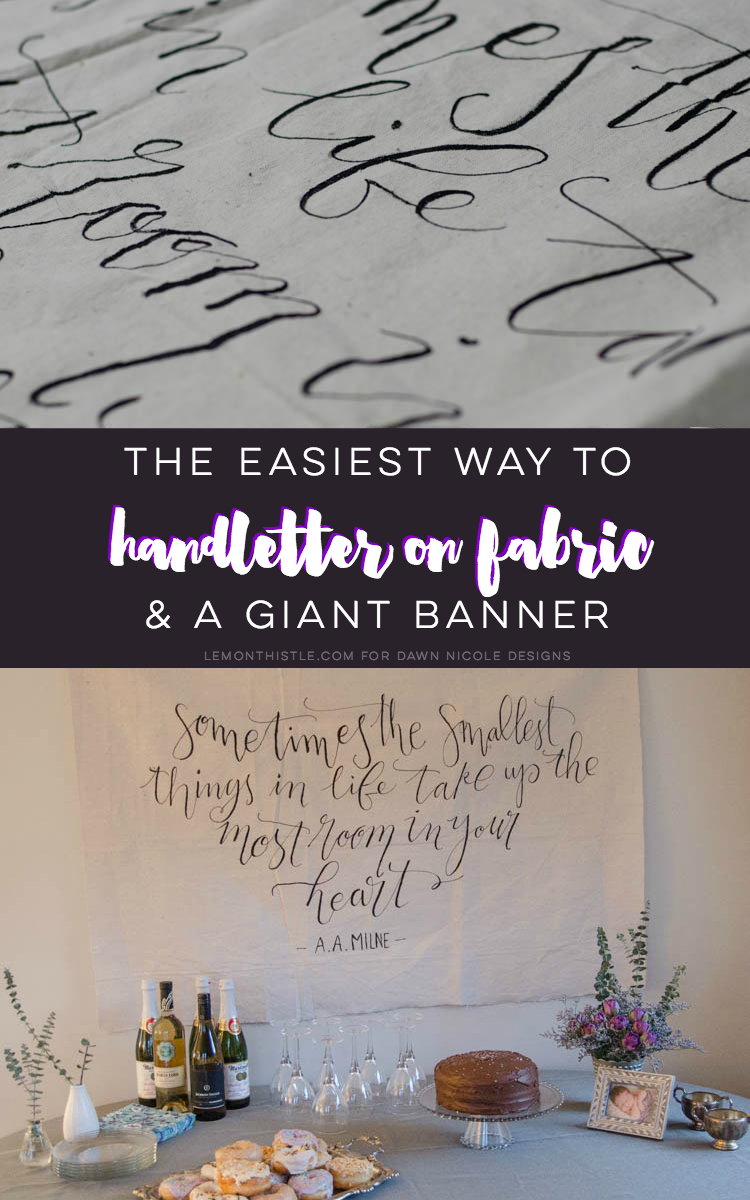 I LOVE this DIY giant canvas backdrop for a party... or a nursery. The hand lettering and floral garland is gorgeous! Plus, such great tips to paint thin lines on fabric.